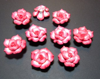 10 Fimo Polymer Clay Red White Flower Rose Beads 25mm