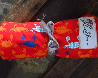 "Orange Minky & Crab Mini Baby Blanket (""Yummy""): ""Il Chirurgo"""
