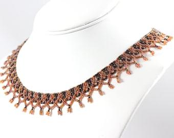 Beaded Necklace - Seed Bead Jewelry - Brown Beadwork Necklace - Netting Jewelry - Netted Collar - Beaded Choker - Beadwork Jewelry