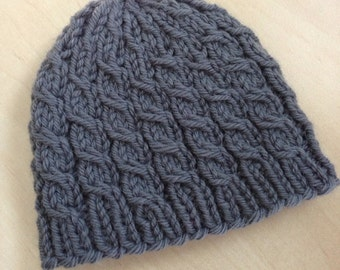 Preemie/Newborn Handknit gray cabled wool/alpaca blend baby beanie