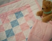 Pink, white and blue doll quilt with pillow