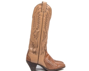 5.5 B | Vintage Justin Cowboy Boots Brown Leather & Lizard Stacked Heel Western Boots