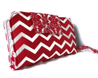 Diaper Clutch With Changing Pad And Wipes Case - Chevron Print {Red and White} Three Piece Set