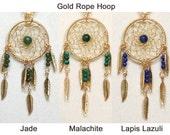 Dreamcatcher Necklace Jade, Malachite, Lapis Lazuli & Gold Dream Catcher with Feathers