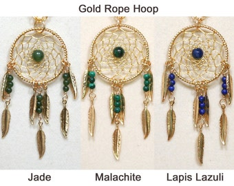 Dreamcatcher Necklace Jade, Malachite, Lapis Lazuli & Gold Dream Catcher with Feathers