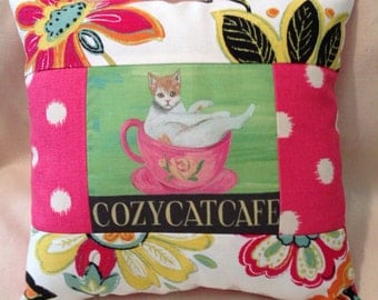 Cozy cat cafe quilted colorful pillow
