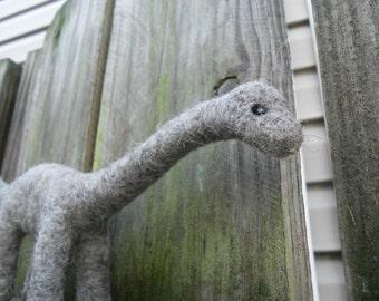Apatosaurus / Needle Felted Dinosaur / Wool Felt Animal Toy / Prehistoric Soft Sculpture / Dinosaur Figurine / Gray Sauropod