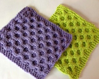 Handmade, Knitted, Dishcloths, Square, Honeycomb, Texture, Dish cloths