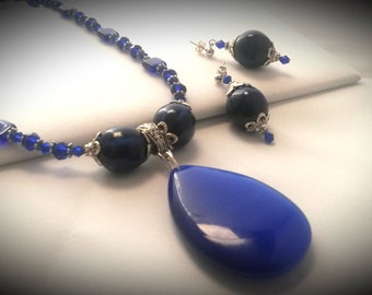 Cobalt Blue Cats Eye Teardrop Necklace & Earring Set