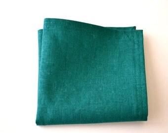 Pocket Square in Teal Linen