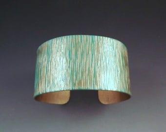 Summer Patina Cuff- Sand and Water- Gold and Aqua- Metal Art Cuff Bracelet