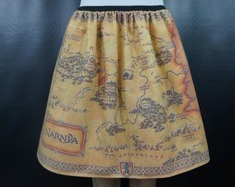 Narnia inspired skirt - map of Narnia - made to order