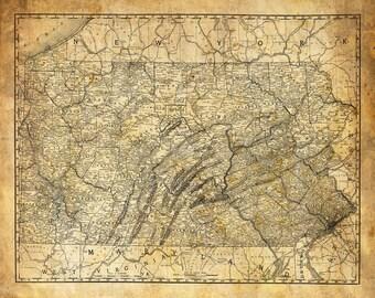 Pennsylvania Map Vintage Print Poster Grunge