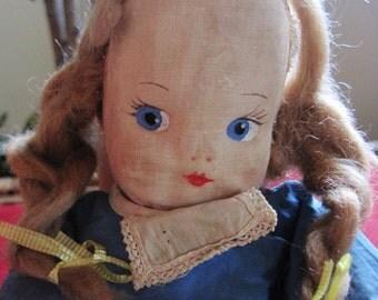 Vintage/ Antique Oil Cloth Dutch Girl Doll