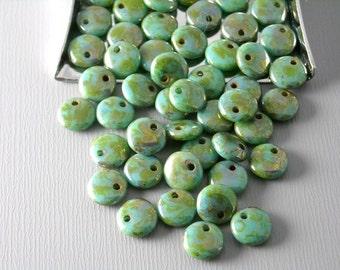 CZH-LNT-6MM-TURB - 50 pcs Czech Glass Lentil Beads - Turquoise / Bronze Fusion