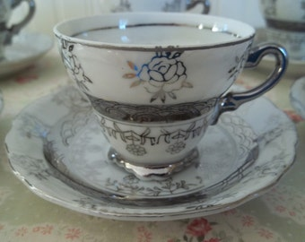 Set of Six Sterling China Demitasse Cups and Saucers   Exquisite    Wedding