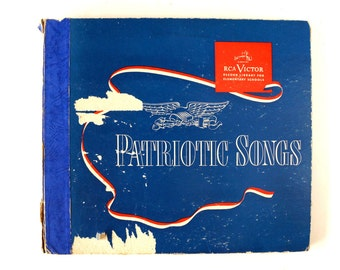 Vintage Patriotic Songs RCA Victor Record Library for Elementary Schools (c.1947) - Collectible, Independence Day Decor, Vinyl Record Set