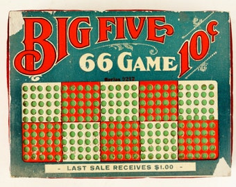 Vintage Big Five 66 Game Unused 10 Cent Punch Board with Key / Thick Lottery Board (c.1940s) - Collectible Lottery, Bar Tavern Gambling