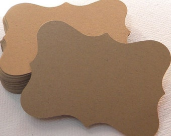 50 large paper tags or cards in kraft card stock - blank gift tags - card making supplies - favor tags