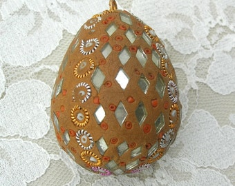 Mosaic Egg, intricate mirror & tiny bead inserts, Eggs from 'Round the World, purchased in India, collectible egg