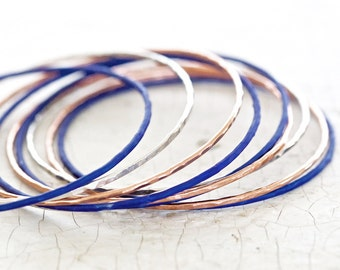 Starry Night Bangles - TEN Unique Dazzling Blue, Rose and Silver Bangles - Boho - Chic - Spring -Colorful - Patina - Starry Night Collection