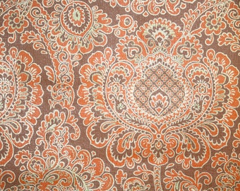 Retro Wallpaper by the Yard 70s Vintage Wallpaper – 1970s Orange and Brown Damask