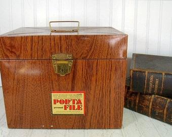 Industrial Litho Wood Grain Metal OverSized Check File Box - Vintage Ballonoff Porta-File XL Carrier - Retro Faux Wooden Case Original Label