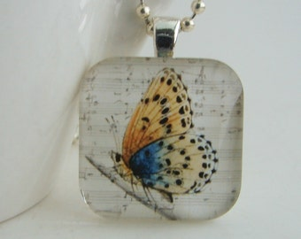 Beautiful Butterfly Glass Tile Pendant with Free Necklace