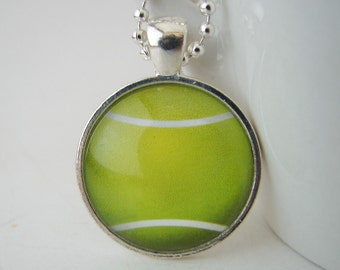 Tennis Ball Glass Tile Pendant with Free Necklace