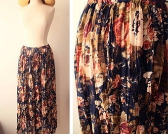 Vintage 80s Boho Floral Semi Sheer Pleated Crinkled Maxi Skirt Size Large