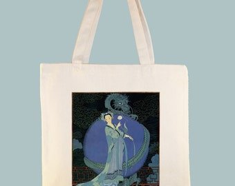 Chinese Princess by George Barbier Art Deco Fashion Print Black or Natural Canvas Tote - Selection of  Sizes Available