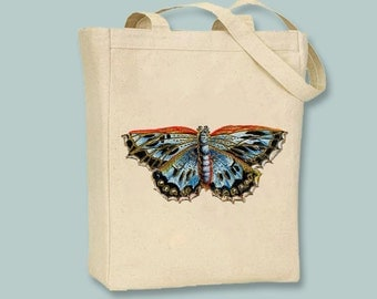 Lovely Vintage Blue Ornate Butterfly Natural or Black Canvas Tote - selection of sizes available