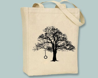 Tree and Tire Swing Silhouette Canvas Tote  -- Selection of sizes available