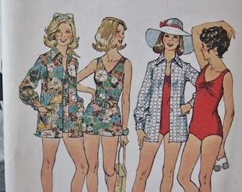UNCUT Vintage 1974 Simplicity One Piece Bathing Swim Suit & Cover Up Blouse 6356 Sewing Pattern Size 16 Bust 38