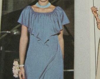 UNCUT Vintage 1978 Evening Dress Off Shoulder Elastic Ruffled Neckline 8737 Simplicity Sewing Pattern Size 16 1/2 - 20 1/2 Bust 39 - 43