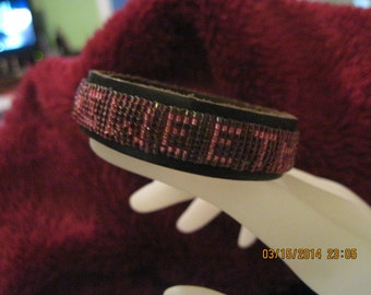 "Leather ""Hidden Messages"" Beaded Bracelet ...Raspberry & Hot Pink...SweetHeart..Hand Made... OOAK...1468h"