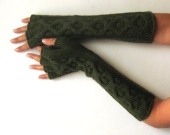 Dark Green Fingerless Gloves half fingers Inverted Cable Fingerless Mittens Knit Arm Warmers Winter Hand Warmers Wool Mitts - KG0063