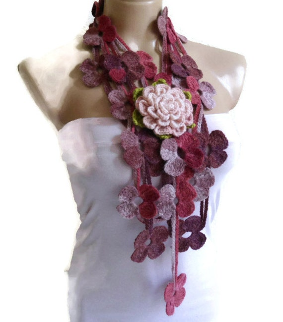 crochet scarf, crochet flower scarf, turkish scarf style, unique gift, christmas gift, Fashion scarves