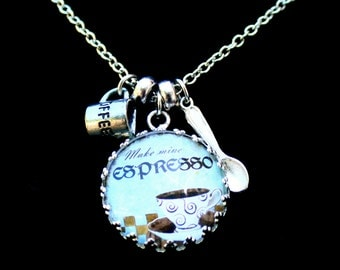 Coffee Lovers Charm Necklace - Expresso - Latte - Cafe - Morning Riser - Custom Necklace - Quote Pendant - Coffee - Caffeine - Cappuccino