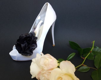 Large Black Ruffle Flower Shoe Clips FREE SHIPPING