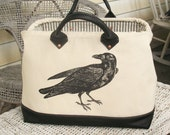 Canvas and Leather Handmade Mason Bag Tote with Raven