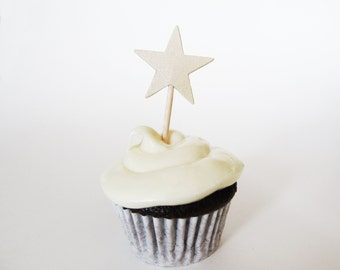 Gold Shimmer Star Mini Cupcake Toppers, Graduation Party Decor, Double-Sided, Weddings, Showers, Birthdays, Set of 15