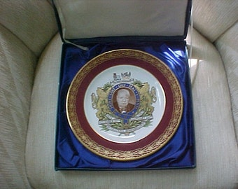 Large Plate, Winston  Churchill, Spode China, Surrounded by Gold and in Original Box.