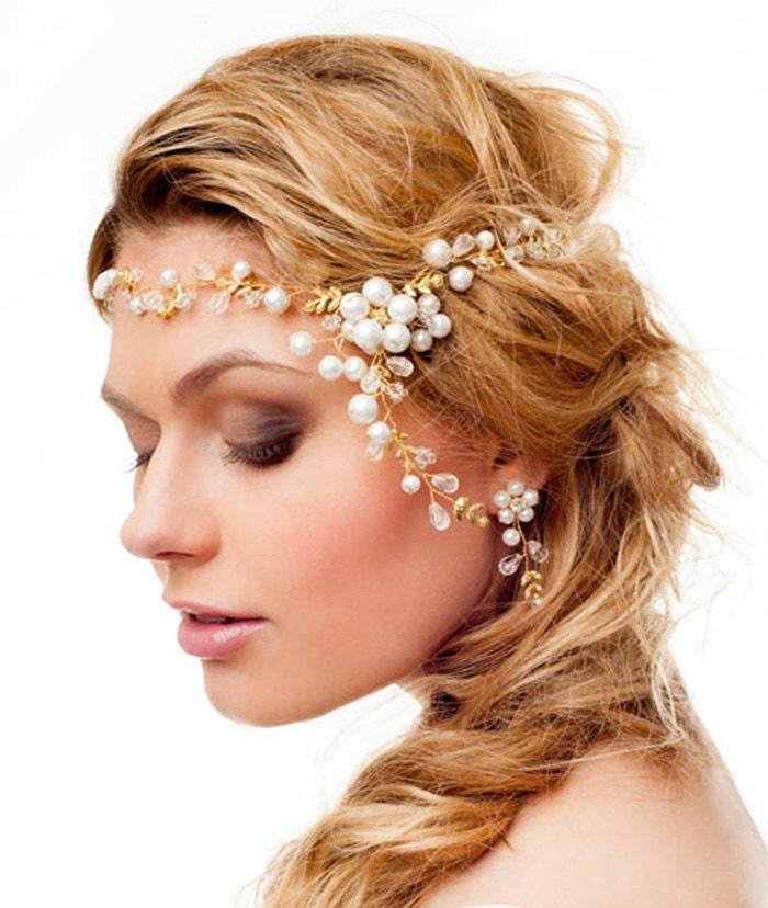 Homemade Bridal Headband Ribbon Pearls Flower Headband