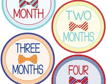 Bow Tie Monthly Bodysuit Stickers  - Baby Shower or New Mom gift - For a baby boy 1-12 months - Photo Prop Stickers