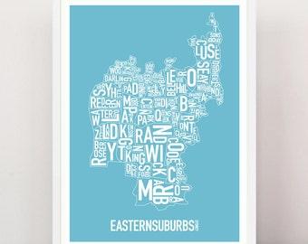 Sydney - Eastern Suburbs Type Print