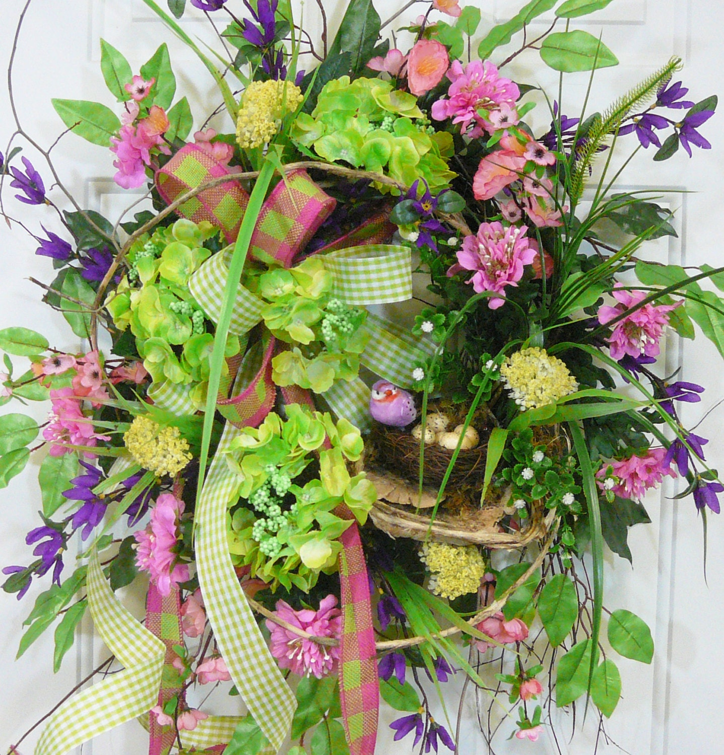 x large spring summer outdoor wreath with green hydrangeas