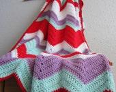 Red, Aqua, Lavender & White Chevron Throw Blanket - Hand Crochet