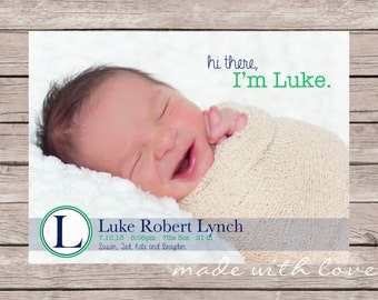 Hi There-A Simple and Stylish Custom Photo Birth Announcement for, 5x7, personalized and printable