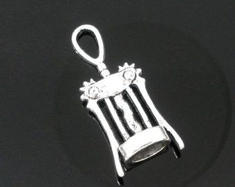 10 Silver Tone WINE CORKSCREW Charm Pendants chs0618